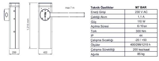 Nice-M7-Bar_teknik_ozellikler
