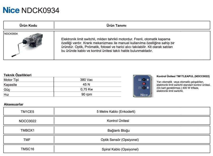 nice-NDCK-0934-teknik-bilgiler
