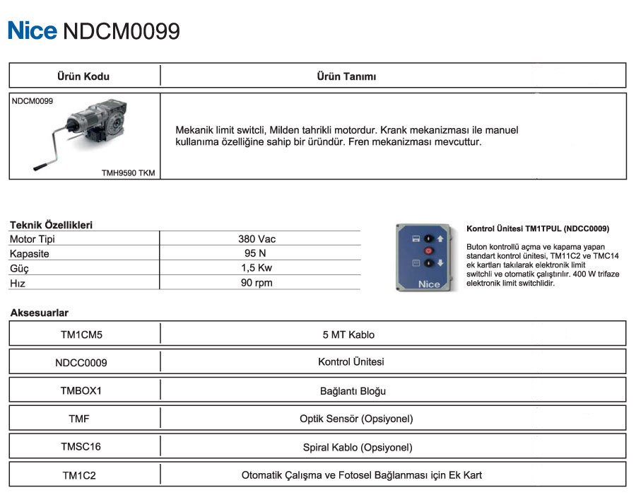 nice-NDCM-0099-teknik-bilgiler