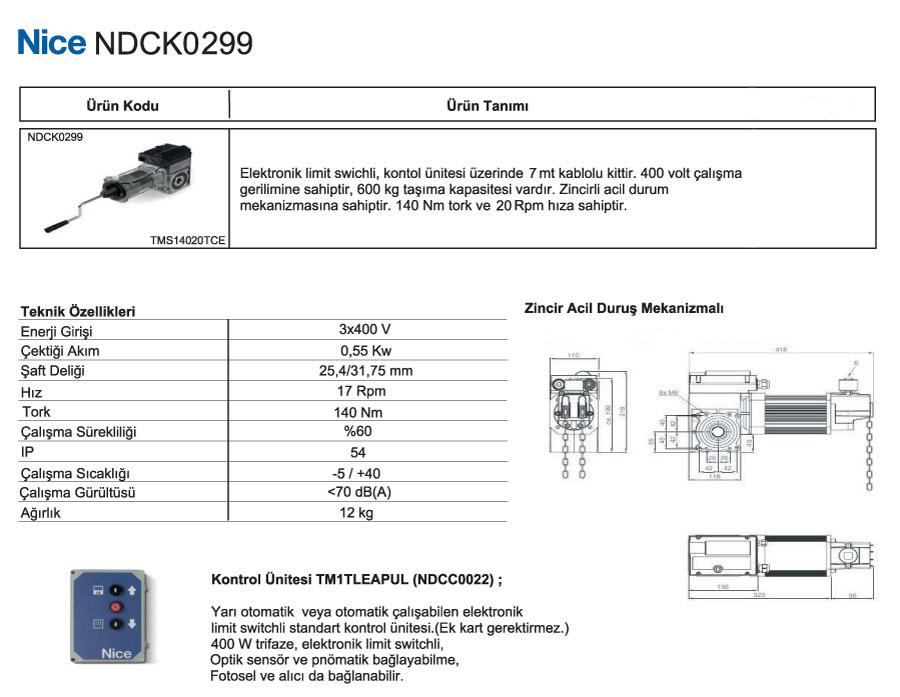 nice-ndck-0299-teknik-ozellikler