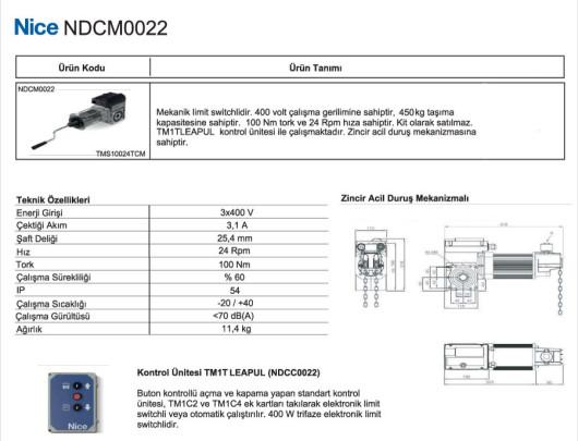 nice-ndcm-0022-teknik-ozellikler
