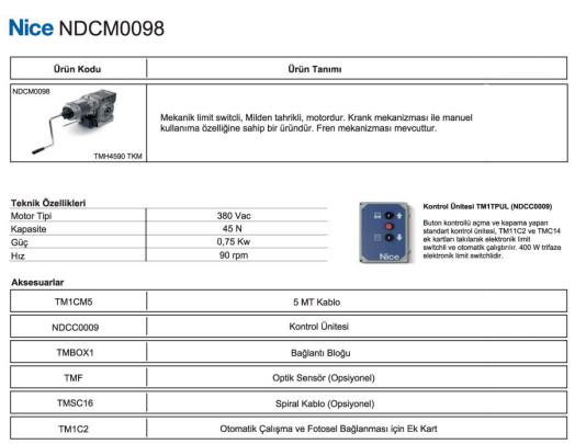 nice-NDCM-0098-teknik-bilgiler