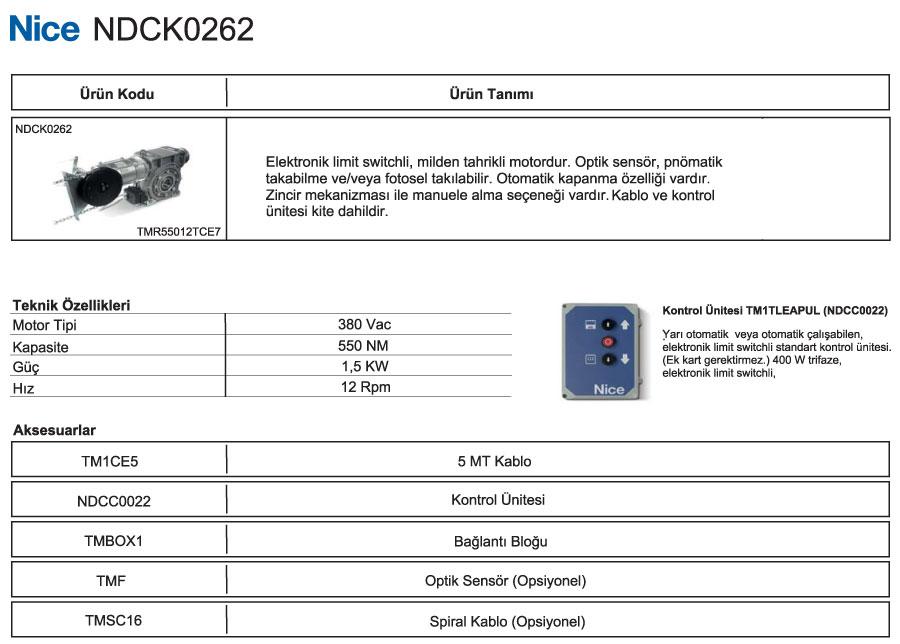 ndck-0262-teknik-bilgiler